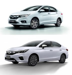 2020 Honda City front three quarter vs 2017 Honda City front three quarter