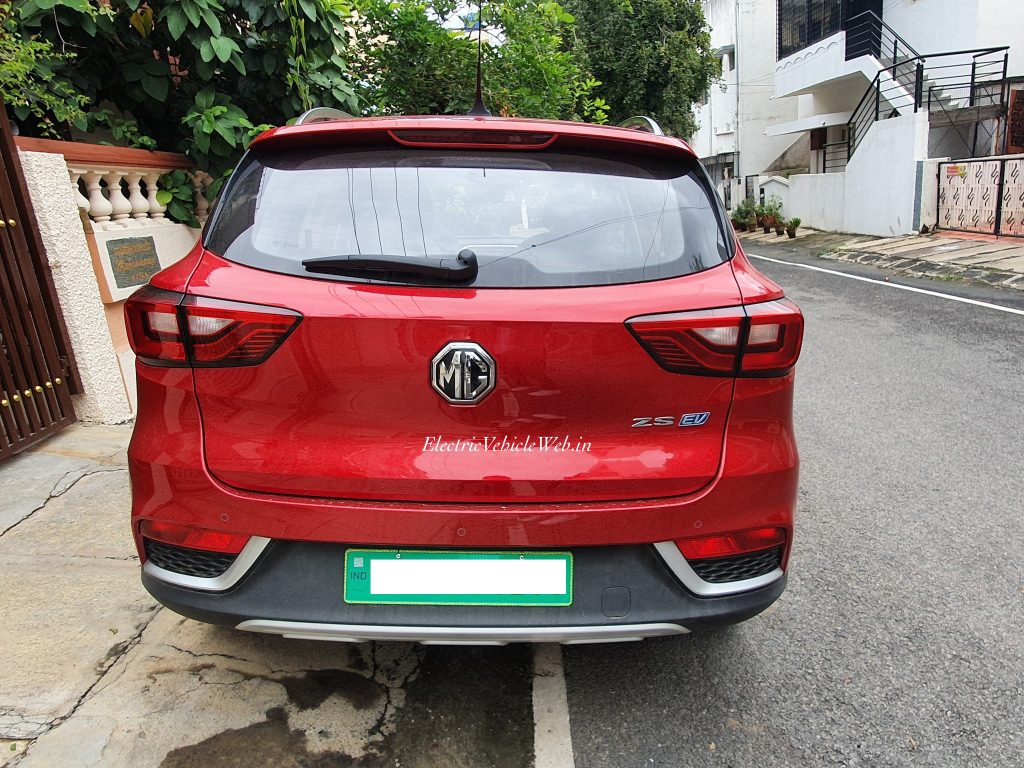 MG eZS electric SUV rear spotted in Bengaluru