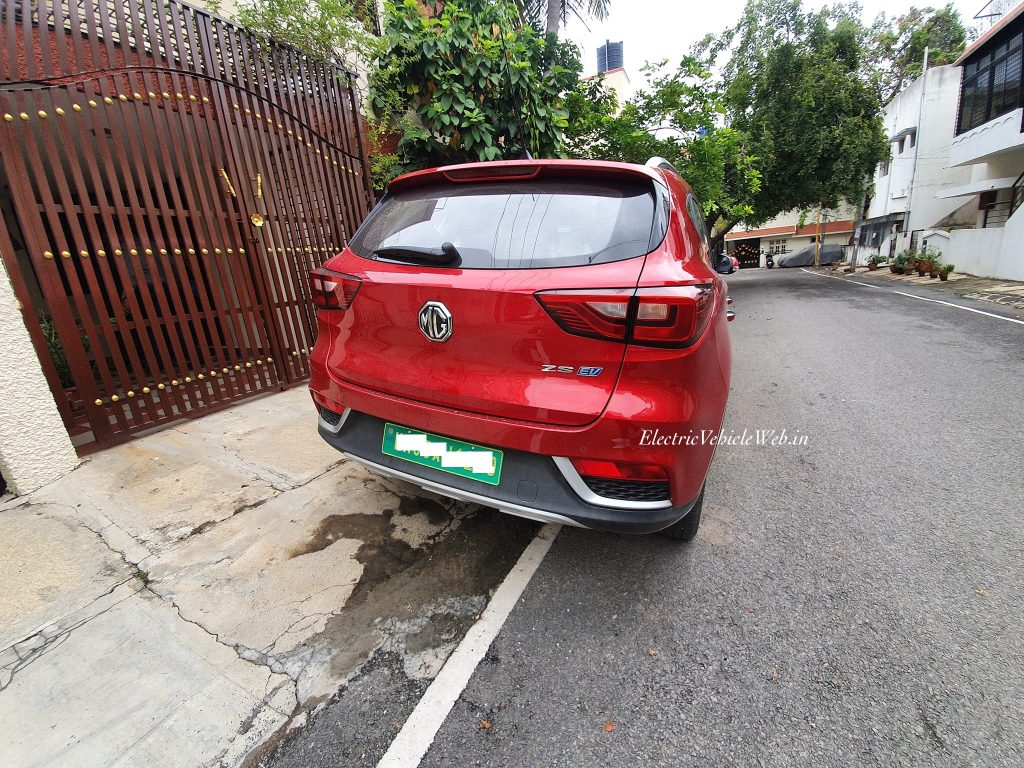 MG eZS electric SUV rear three quarter spotted in Bengaluru