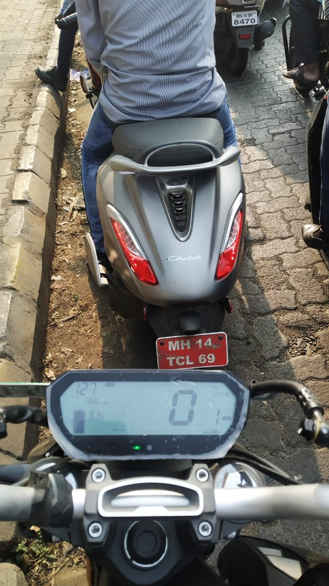 Bajaj Chetak electric spotted by Revolt electric motorcycle rider