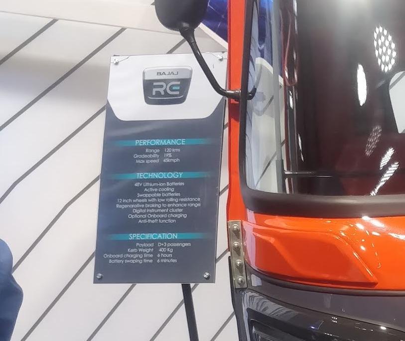 Bajaj RE electric auto rickshaw specifications