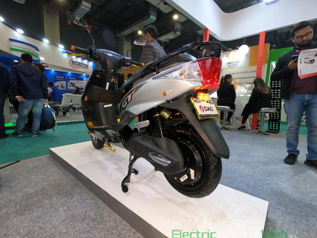 DAO EVTech GT electric scooter rear three quarters left