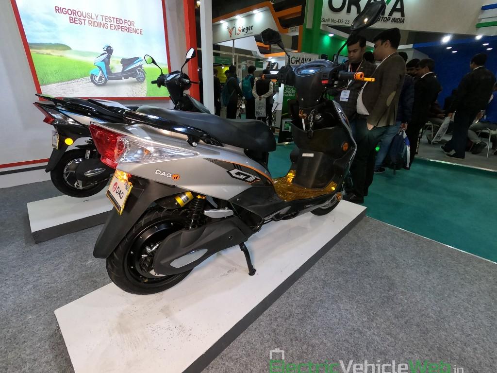 DAO EVTech GT electric scooter rear three quarters