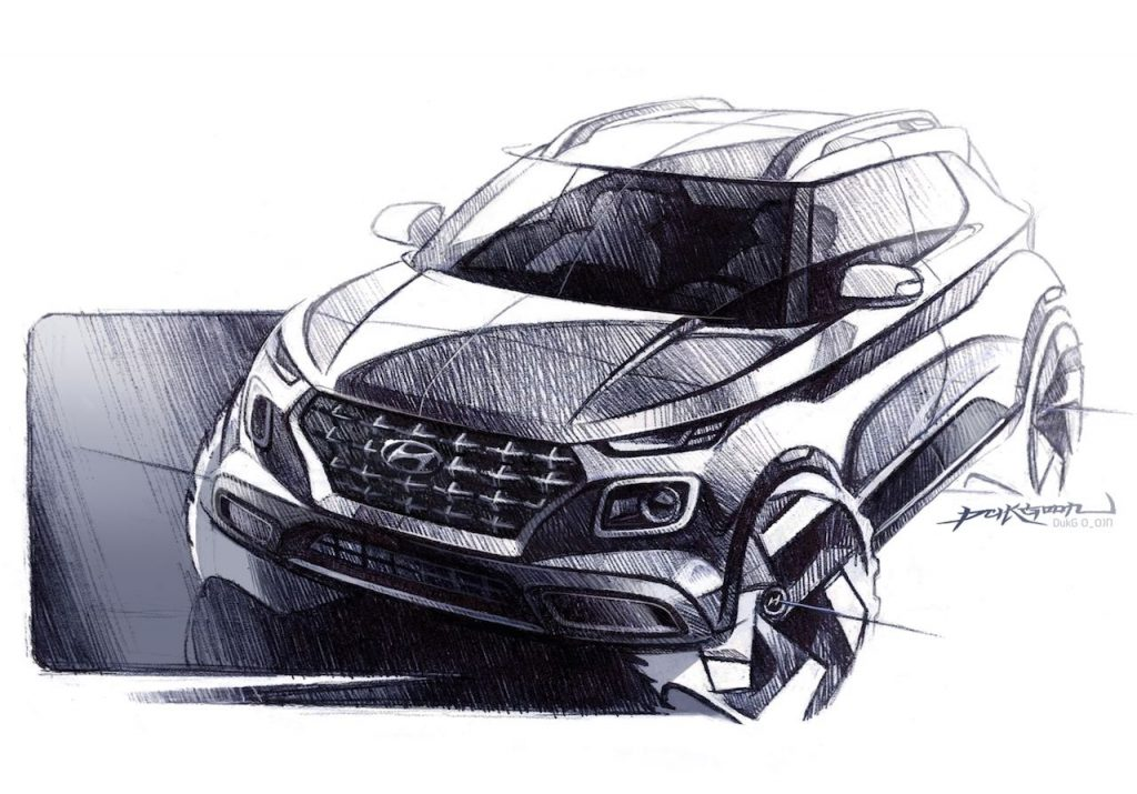Hyundai Venue front sketch