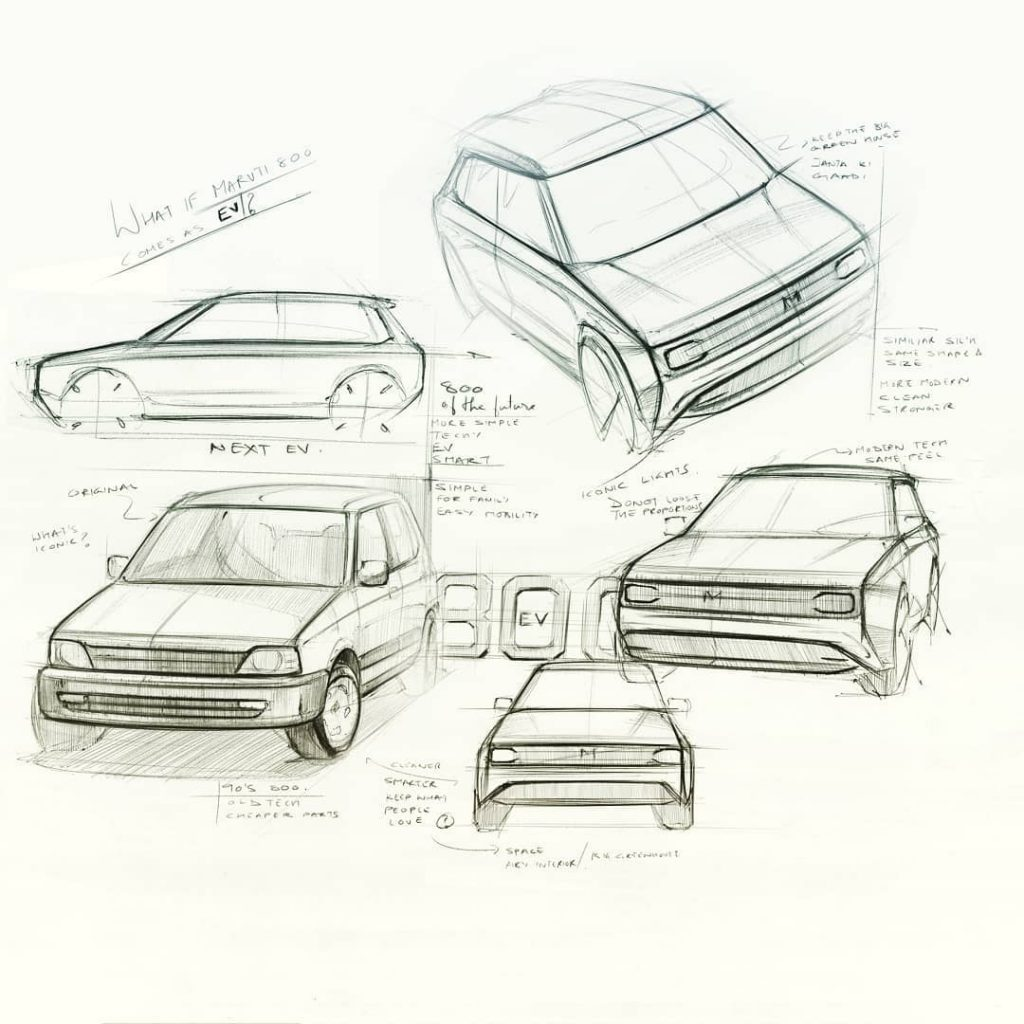 Maruti electric car design sketches