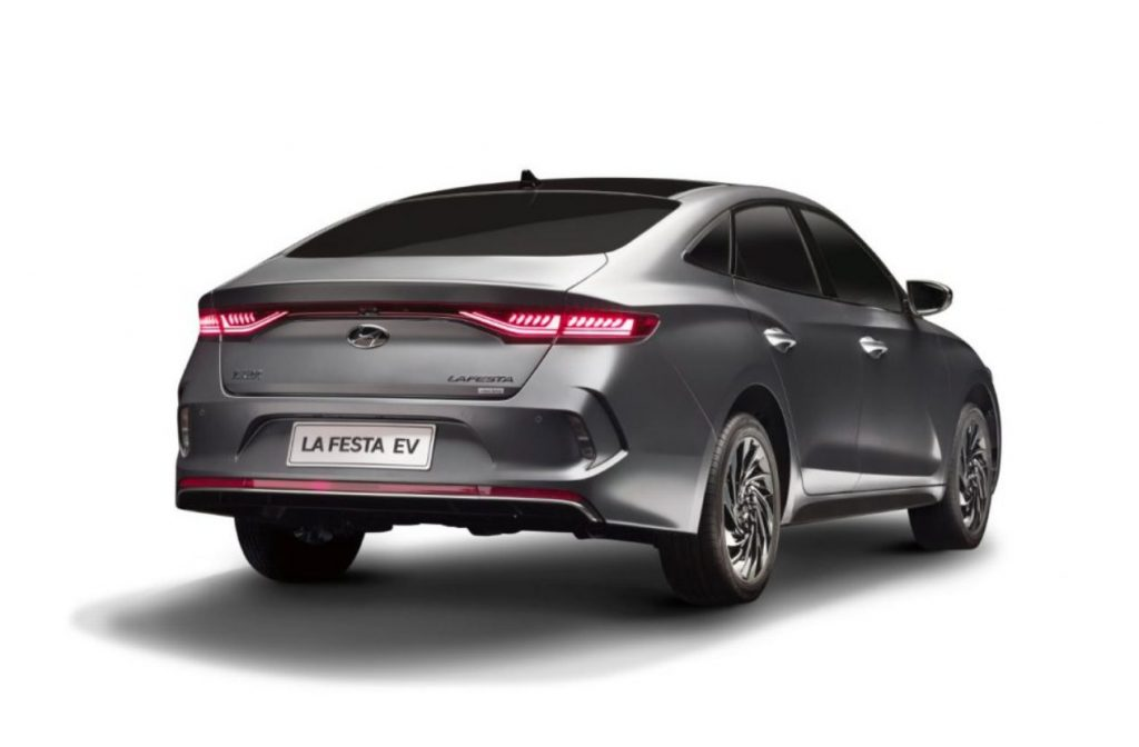 Hyundai Lafesta EV Sedan rear three quarter view