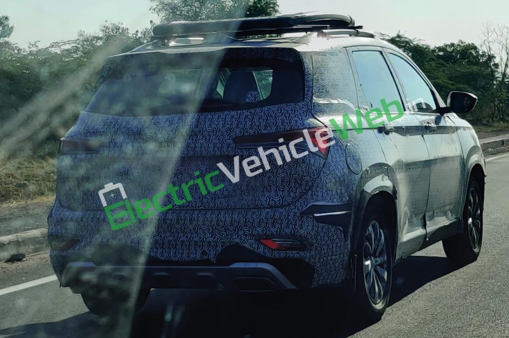 MG Hector Plus Spied rear fascia bumper