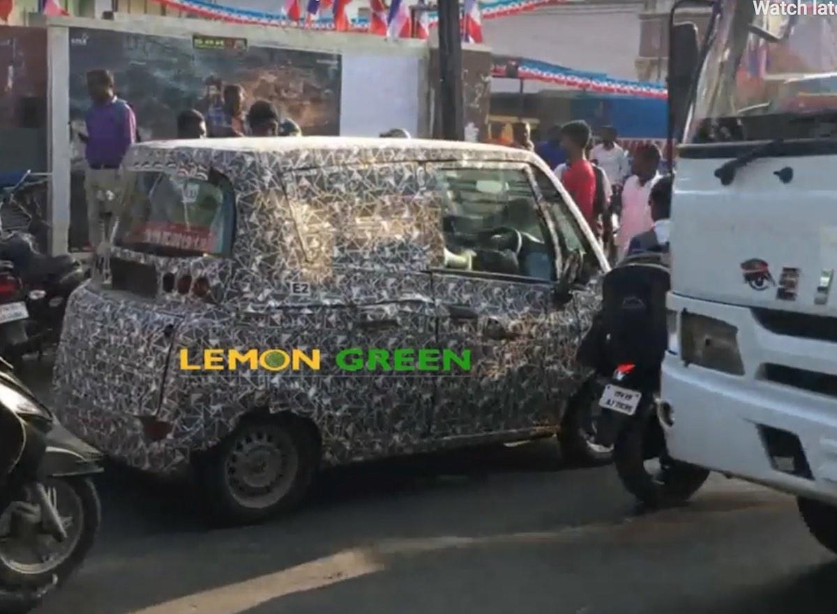 Mahindra Atom electric vehicle rear view spy shot