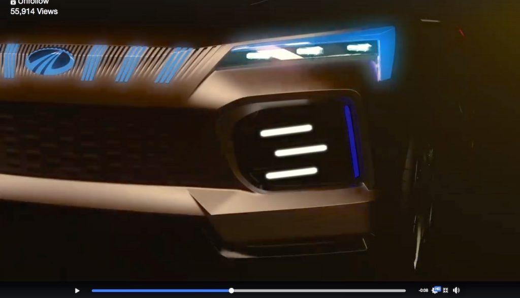 Mahindra Funster EV concept headlight grille foglamp teaser video screenshot