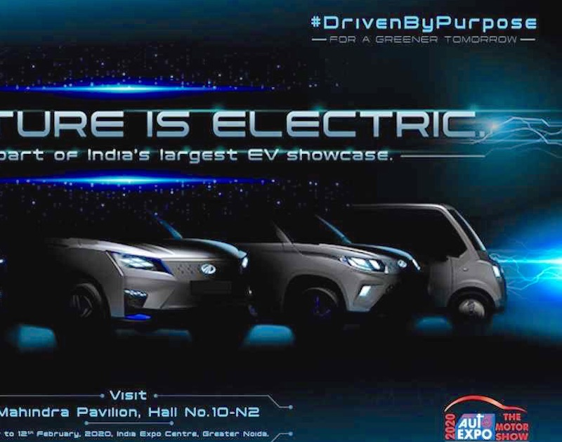 Mahindra XUV300 electric Mahindra KUV100 electric Mahindra Atom electric teaser