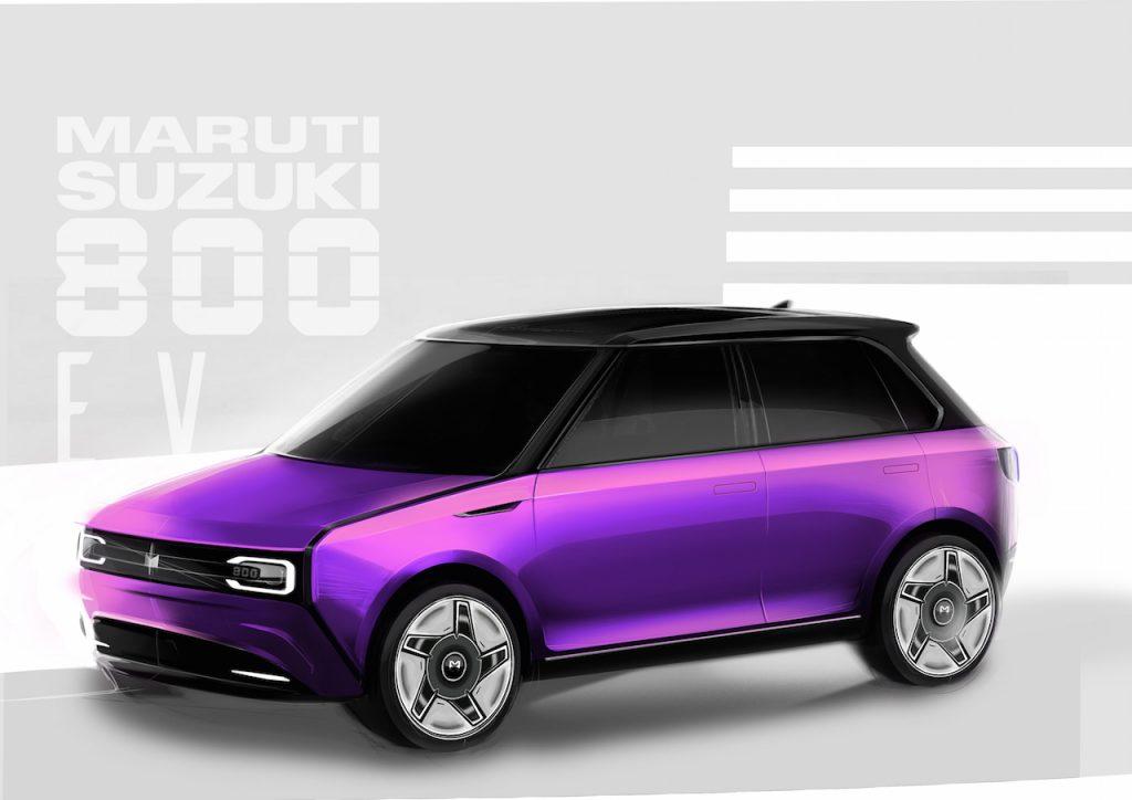 Maruti 800 EV sketch side by Rajshekhar Dass