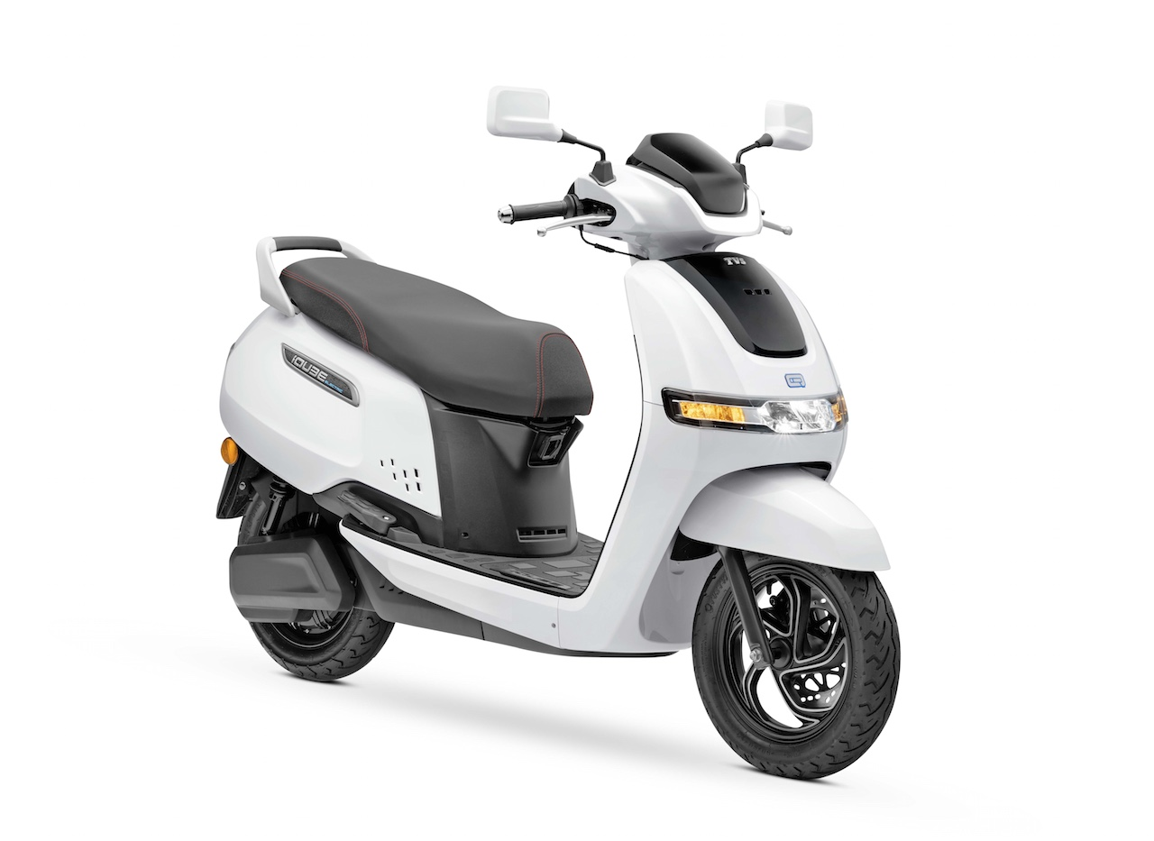 TVS iQube electric scooter side view