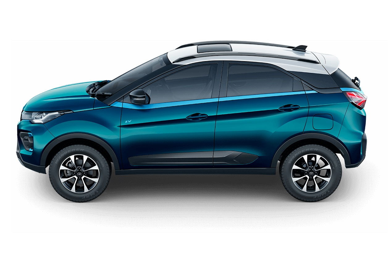 Tata Nexon Signature Teal Blue clour side view