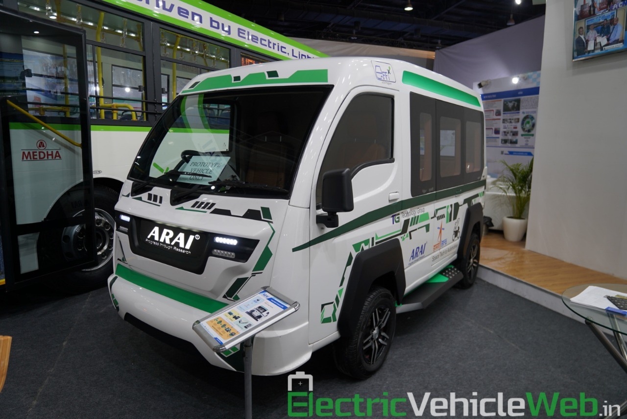 ARAI Prototype Electric Vehicle front three quarter view - Auto Expo 2020