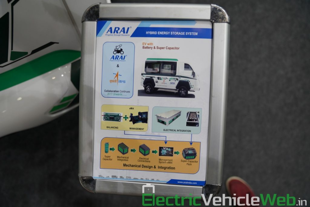 ARAI Prototype Electric Vehicle hybrid energy storage system - Auto Expo 2020