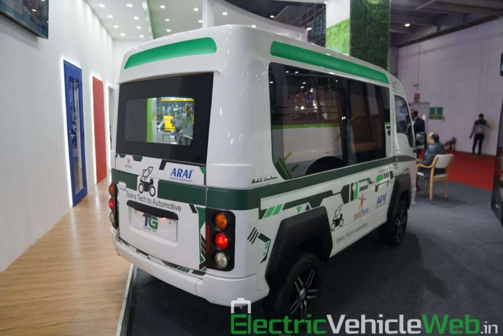 ARAI Prototype Electric Vehicle rear three quarter view - Auto Expo 2020