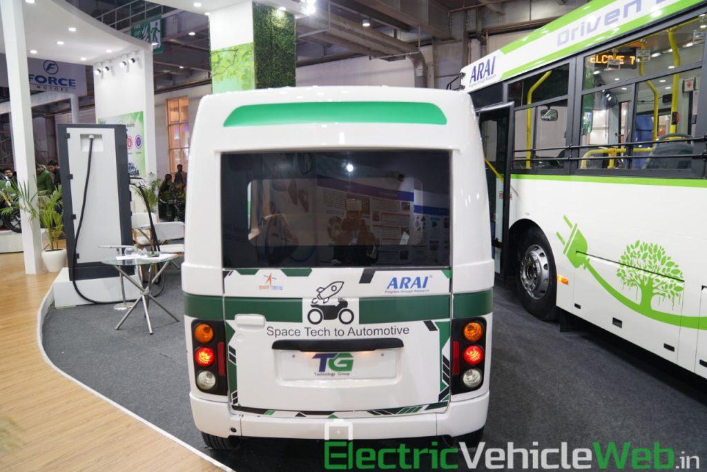 ARAI Prototype Electric Vehicle rear view - Auto Expo 2020