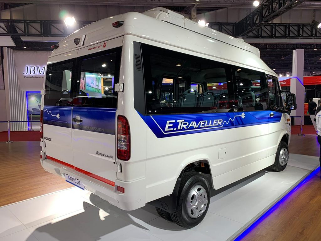 Force Traveller Electric rear three quarter view 1 - Auto Expo 2020