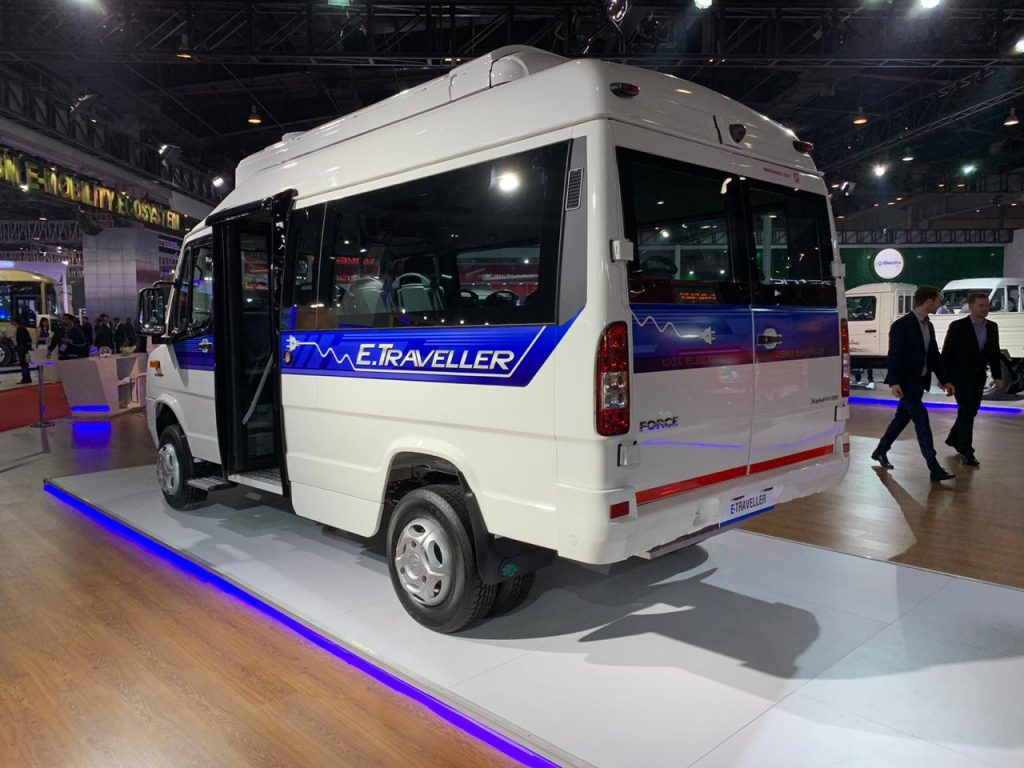 Force Traveller Electric rear three quarter view 2 - Auto Expo 2020