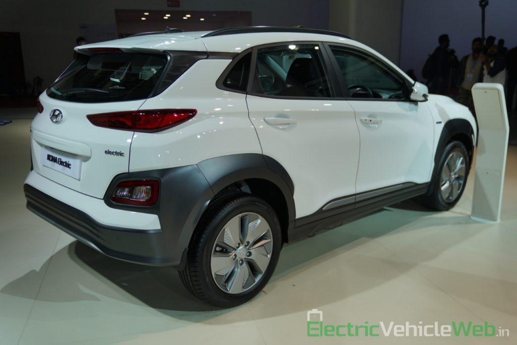 Hyundai Kona Electric rear three quarter view 1 - Auto Expo 2020