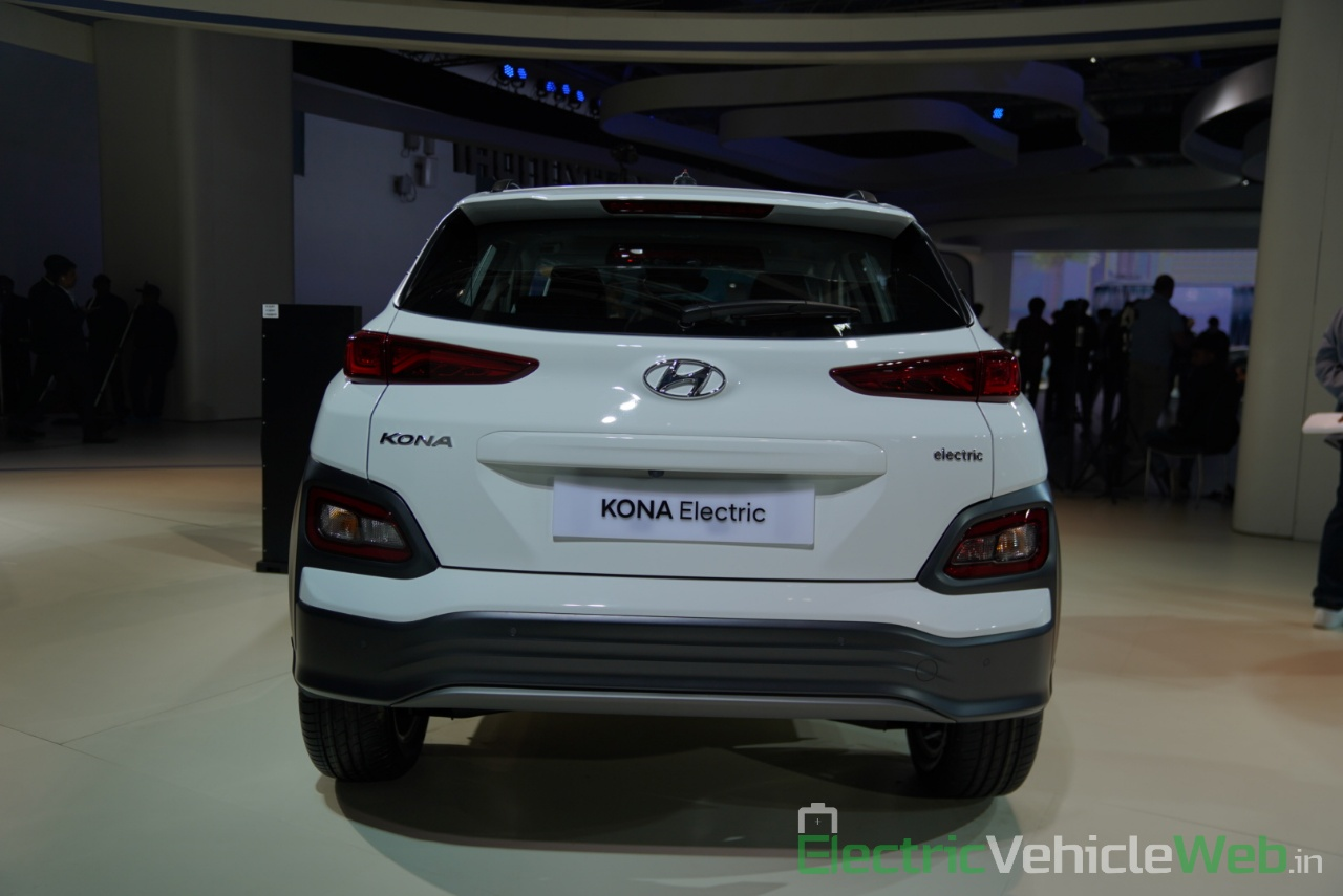 Hyundai Kona Electric rear view - Auto Expo 2020