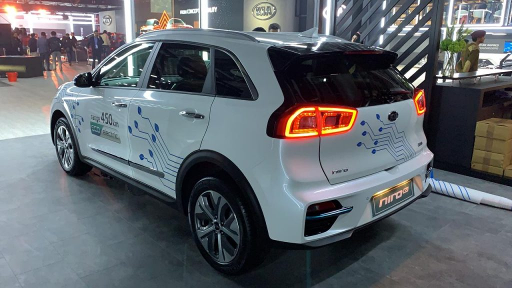 Kia Niro Electric rear three quarters left at Auto Expo 2020