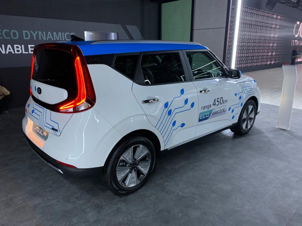 Kia Soul EV Auto Expo 2020 rear three quarter view 2