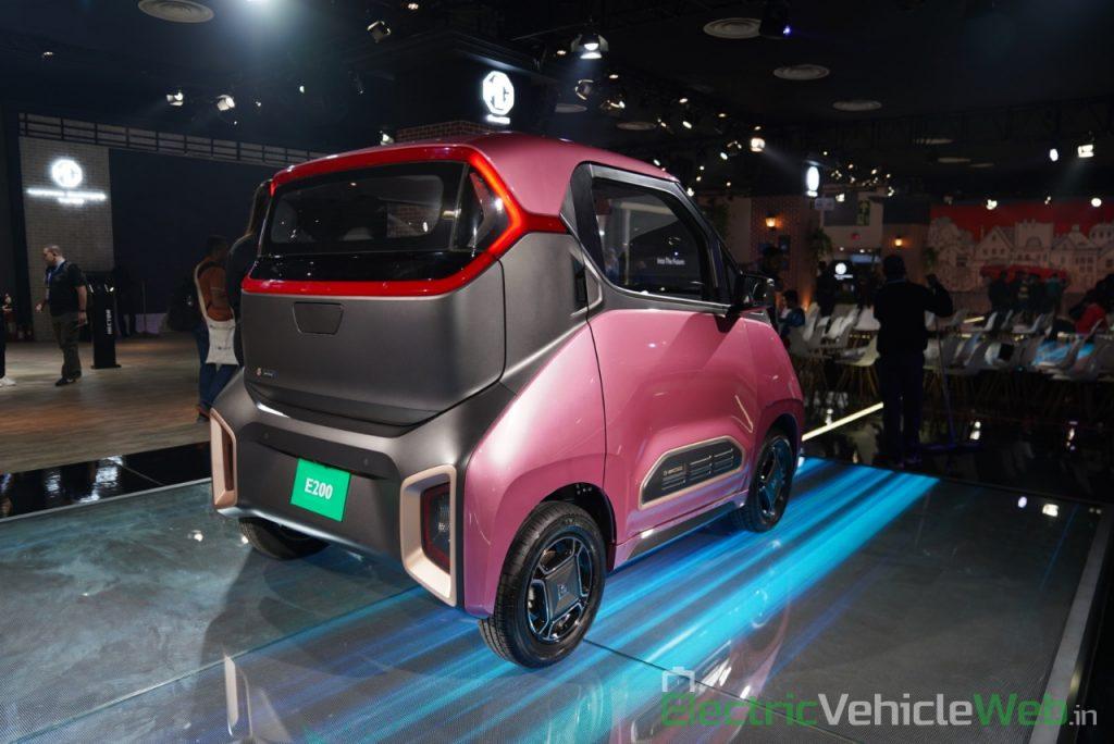 MG E200 EV rear three quarter view 1 - Auto Expo 2020