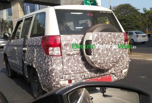 Mahindra TUV300 Plus Facelift spied testing rear