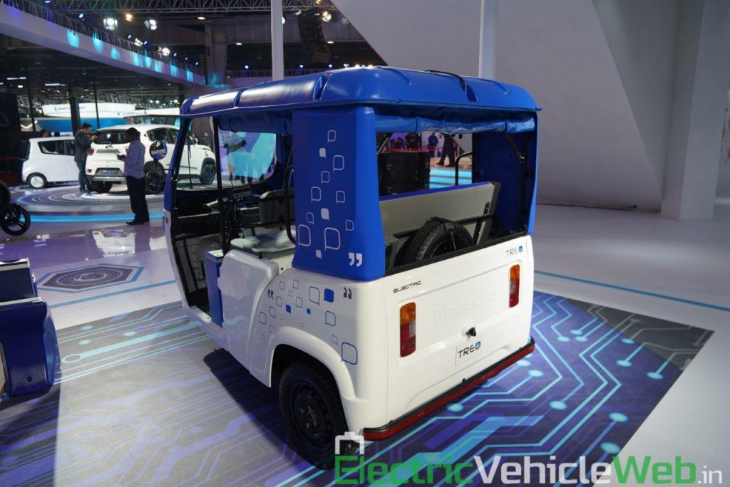 Mahindra Treo rear three quarter view - Auto Expo 2020