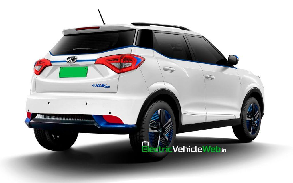 Mahindra eXUV300 rear quarters rendering