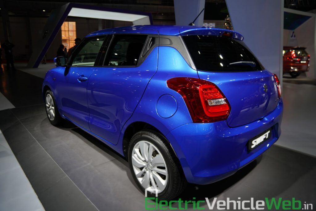 Maruti Suzuki Swift Hybrid rear three quarter view 2- Auto Expo 2020