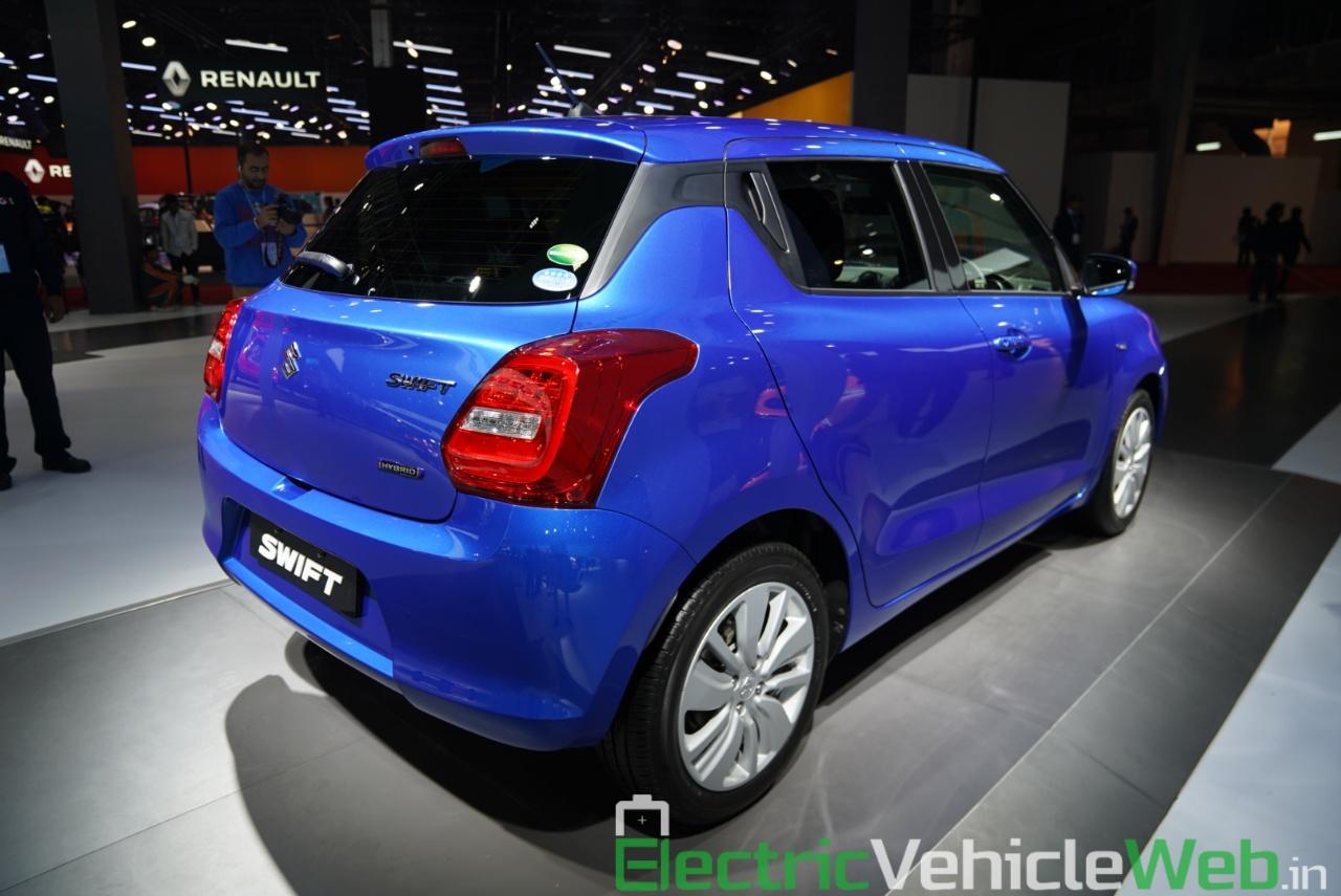 Maruti Suzuki Swift Hybrid rear three quarter view - Auto Expo 2020