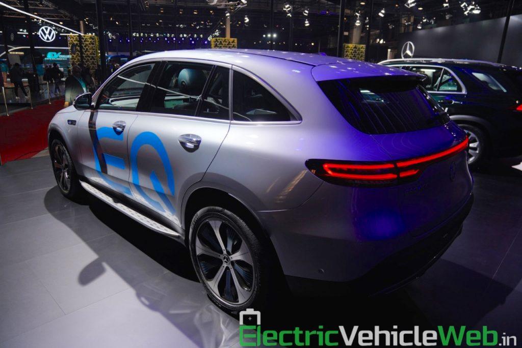 Mercedes EQC rear three quarters at Auto Expo 2020