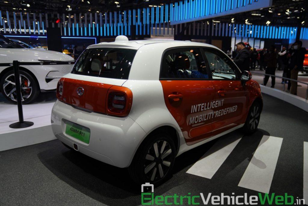 Ora R1 Level 4 Autonomous rear three quarter view - Auto Expo 2020