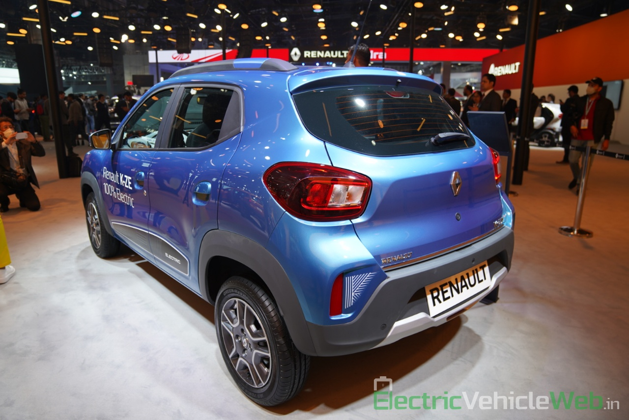 Renault Kwid electric (K-ZE) rear three quarter view - Auto Expo 2020