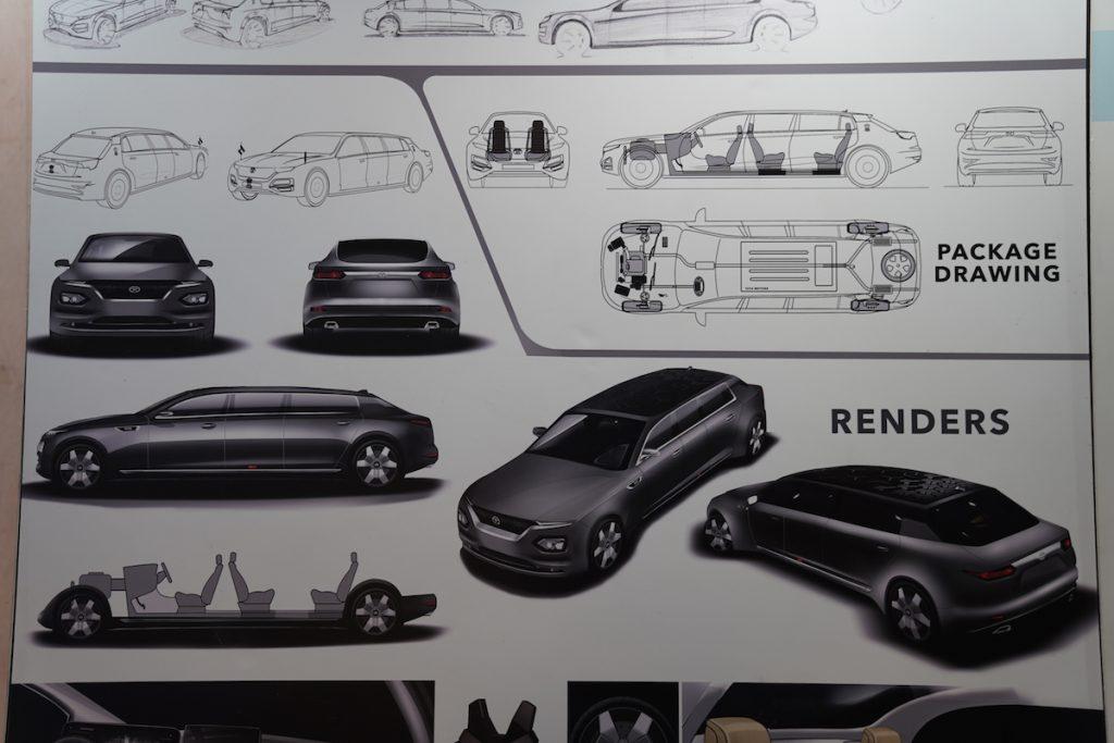 Tata Garuda Presidential Limousine design sketch - Auto Expo 2020