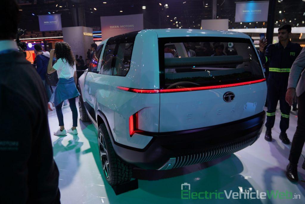 Tata Sierra EV Concept rear three quarter view - Auto Expo 2020