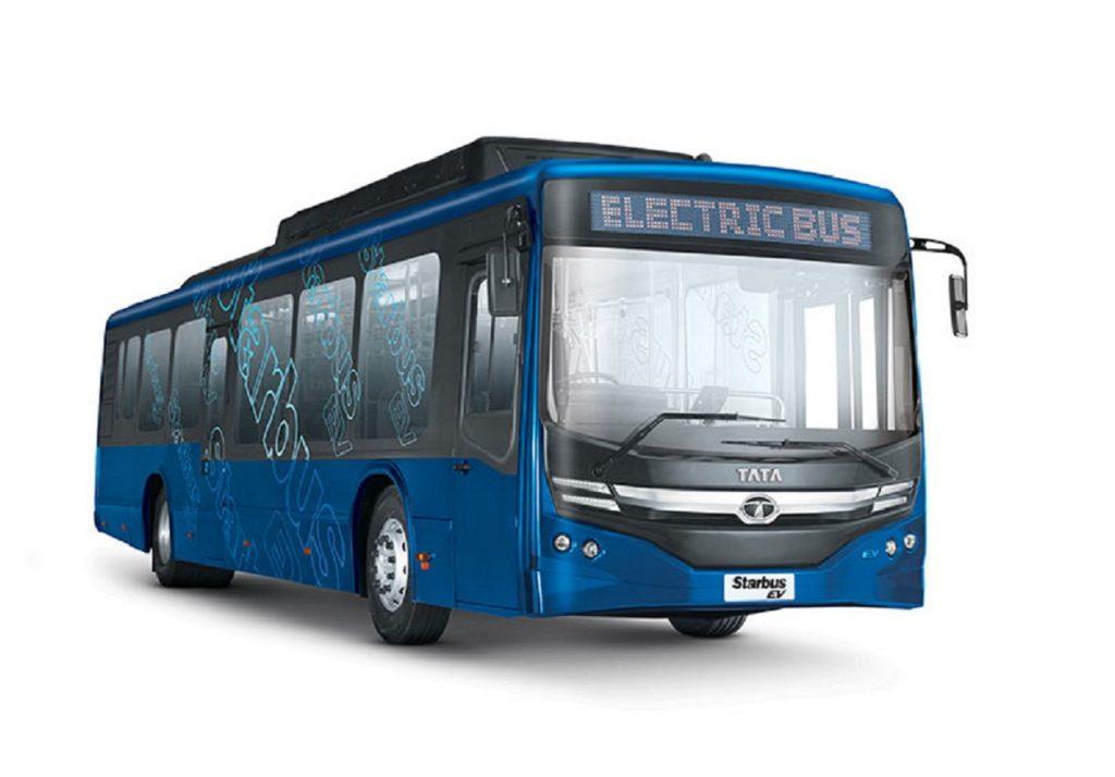 Tata Starbus EV Low Entry Electric Bus front three quarter view - Auto Expo 2020