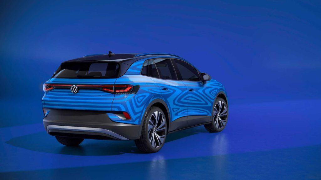 VW ID.4 electric crossover-SUV rear three quarters teaser