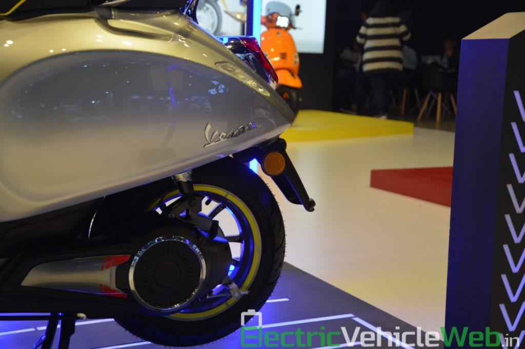 Vespa Elettrica electric scooter rear wheel - Auto Expo 2020