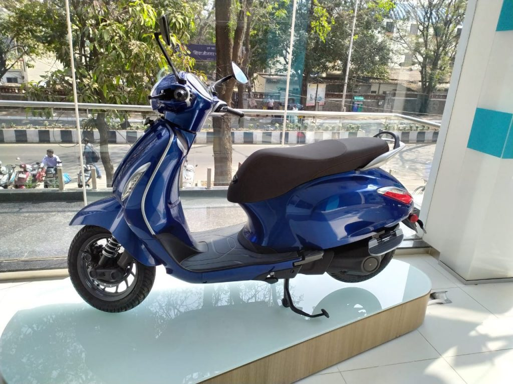Bajaj Chetak electric blue colour showroom