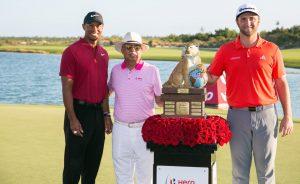Pawan Munjal of Hero Motocorp with Tiger Woods