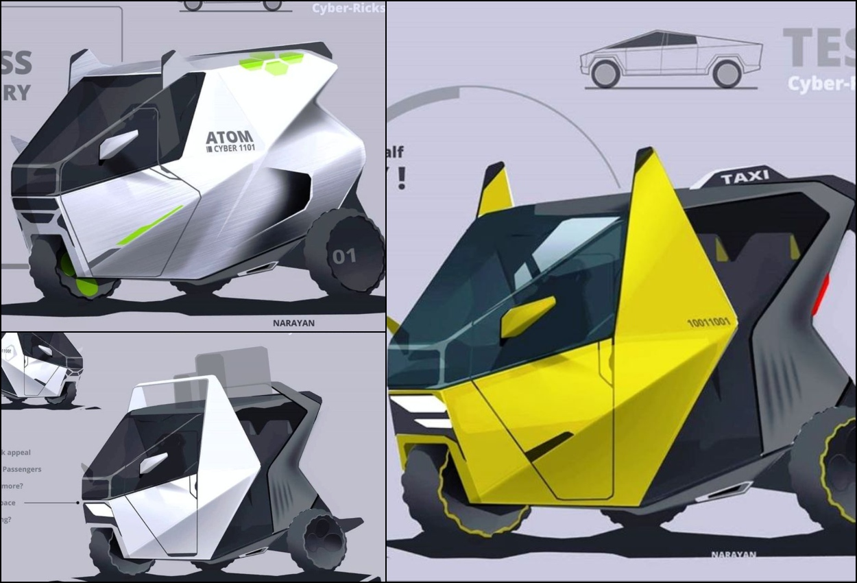 Tesla Cybertruck inspired three wheeler collage