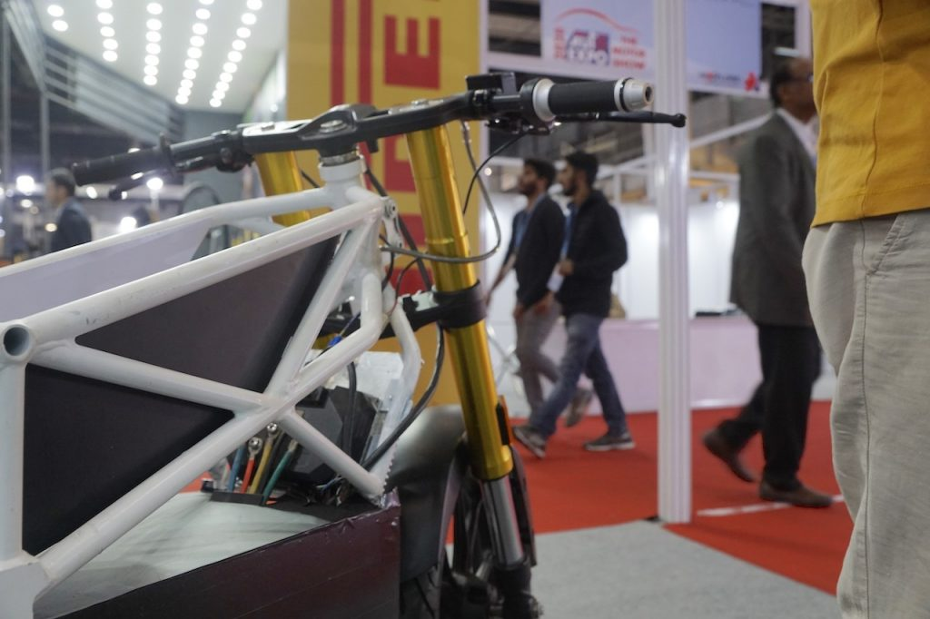 Emotion Surge electric bike fork at Auto Expo
