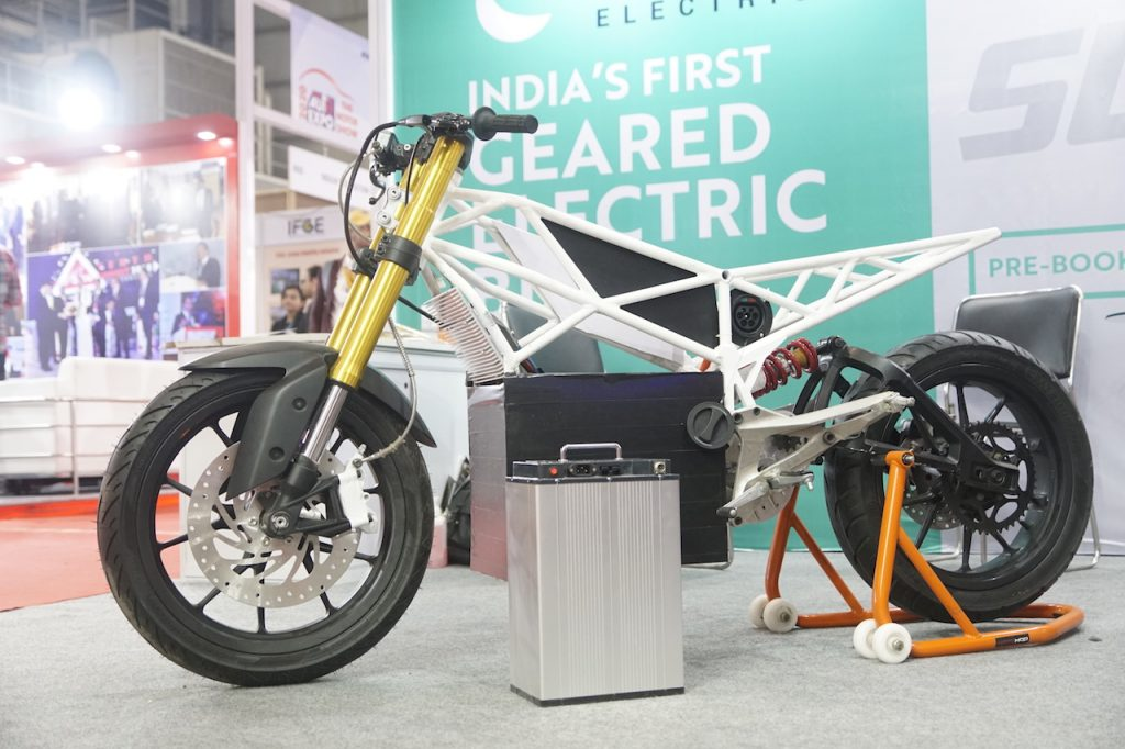 Emotion Surge electric bike frame at Auto Expo
