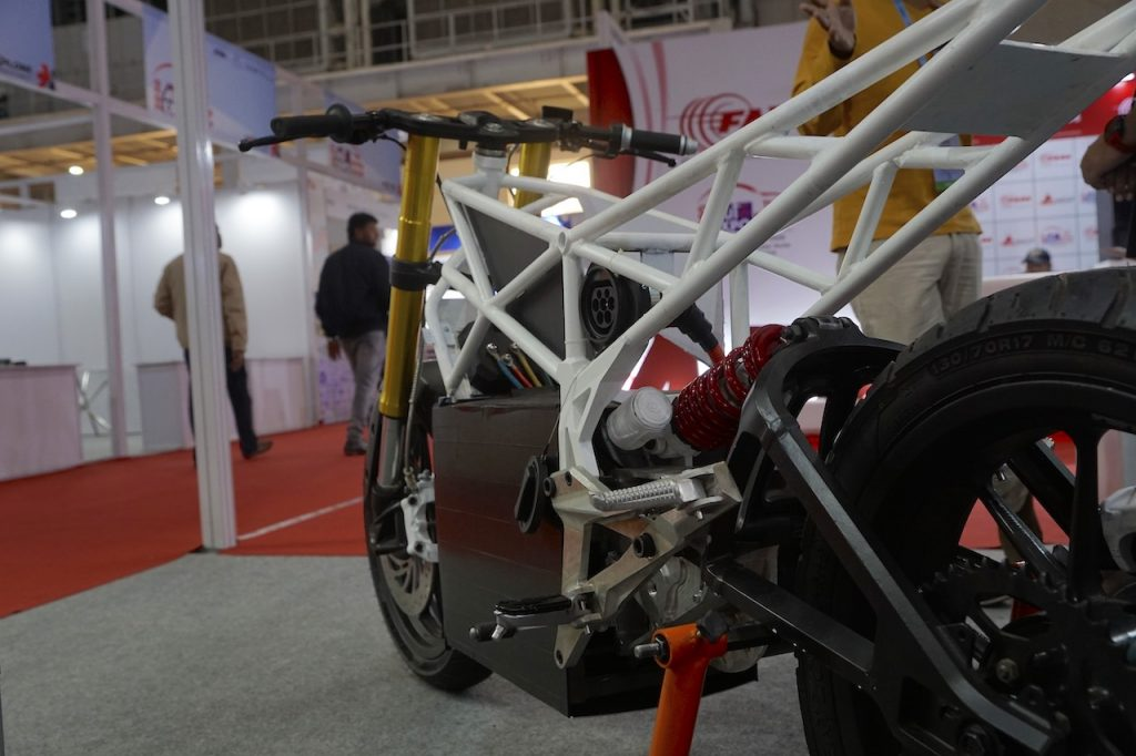 Emotion Surge electric bike frame components at Auto Expo