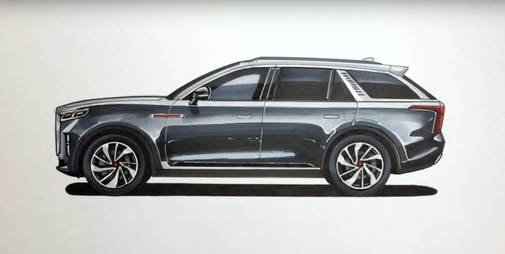 Hongqi E115 electric SUV side sketch by enthusiast
