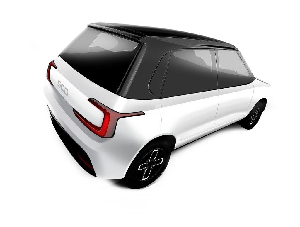 Maruti 800EV Black and White rear view 01