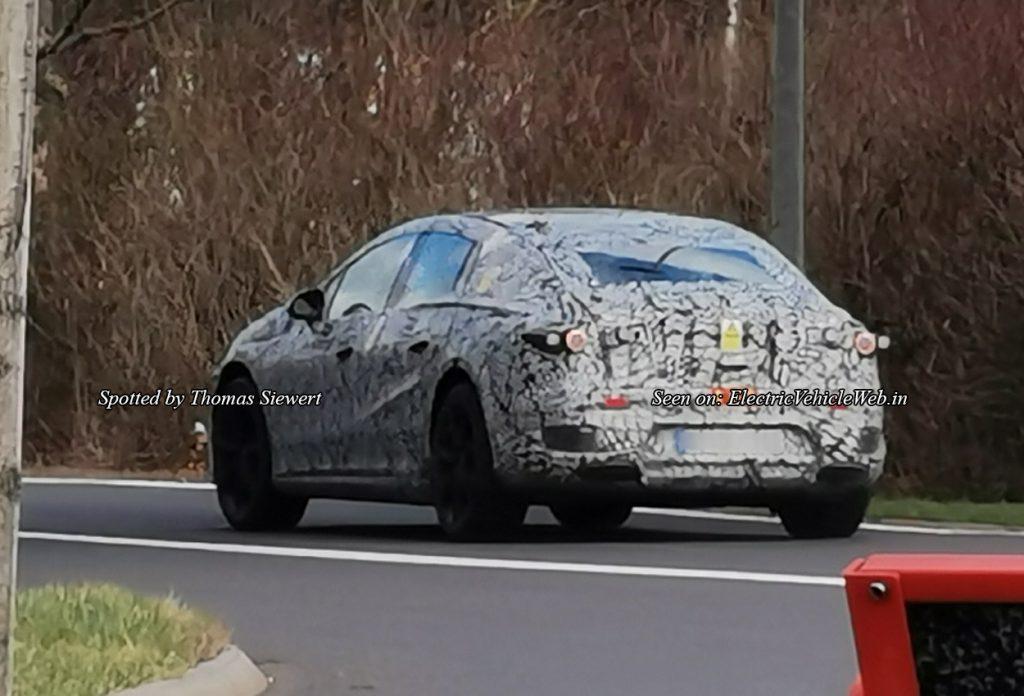 Mercedes EQS spied testing rear three quarter view thomas siewert